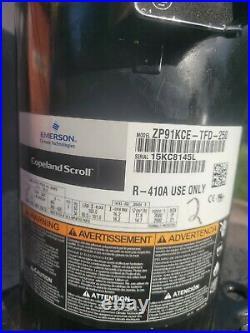 Copeland Scroll ZP91KCE-TFD-950 90k BTU 7.5 Ton Compressor R-410A 3 Phase